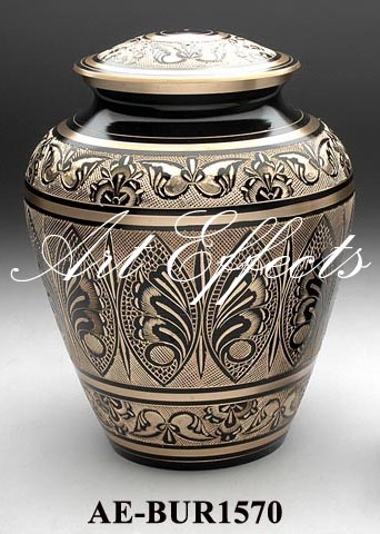 Black Engraved Brass Cremation Urn